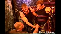 Hot stud gets ball bashing from 2 dudes.