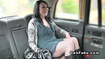 Brunette bangs thru pantyhose in fake taxi
