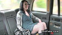 Brunette bangs thru pantyhose in fake taxi Thumbnail