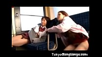Free download video bokep Two Japanese Girls Forced Cumshot in Bus