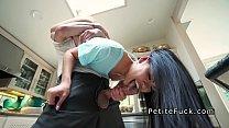 Petite Asian without panties banging in kitchen صورة