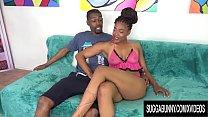 Sexy Ebony Lacy Layy Gets Naked, Sucks Cock, Gets Fucked