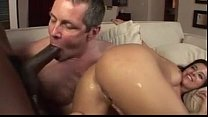Black cock from wife's ass to husband's mouth. video