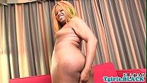 Gorgeous ebony ts fingering her asshole