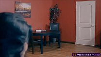 Busty office slut in stockings gives blowjob an...