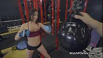 Fucking gf on spinner at the gym thumbnail
