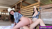 Blonde cowgirl pussy fucked all over the saw du...