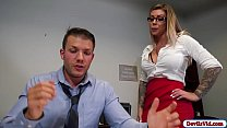 Busty secretary rides her boss hard cock