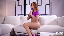 Redhead Jenny Manson's got some wet dreams to share while masturbating