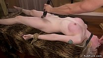 Skinny pale blonde anal fucked bdsm