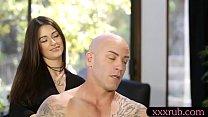 Pretty babe gives man a relaxing backrub thumbnail