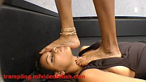 Brunette Girl Trampling Hard Slave Girl Face and Body