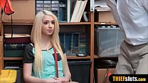 Petite blonde teen thief punish fucked next to her dad
