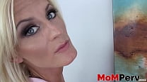 Glamorous MILF Olivia Blu sucking on fat stepson cock