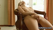 Flirtatious chick masturbates pink cunt until she is coming preview image