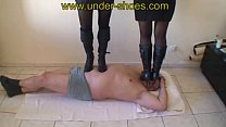 Mother VS Daughter extreme high heels boots punishement
