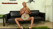 Big Fake Boobed Blonde Wife Poses