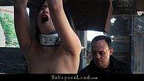 Young slaves harsh fingering, ass spanking at the bondage ruins thumbnail