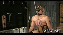 Non-professional gets muff ravished during breast bondage xxx