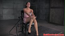 Chained bdsm sub clamped and toyed by maledom thumbnail