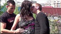 Cum on face of pregnant big tits star Stella Fox in PUBLIC sex street threesome
