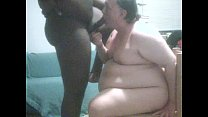 WHITE SUPER CHUBBY SUCKS AND DRAINS YOUNG BLACK MANS DICK video