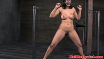 Busty bdsm restrained sub in dungeon preview image