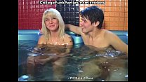 Sex students feeding blonde with dicks in the pool