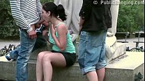 A chubby girl fucked on the street by 2 guys in...