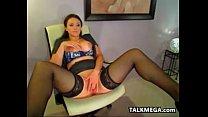 Sexy Brunette Chick Wearing Black Stockings