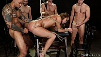 Babe gangbang fucked by addicted group