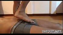 Nice babe gets out her sexy feet and grinds one-eyed monster and balls - Download mp4 XXX porn videos