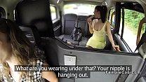 Lesbians shagging in female fake taxi