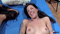 Dirty babes in a Perverted Cock Riding Competition thumbnail