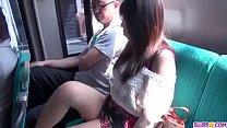 Chinatsu Kurusu spins the dick on the back seat
