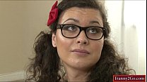 Teen tranny babysitter Riley Quinn analyzed by fat shaft
