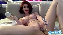 Emily Addison big tits redhead masturbating with two huge toys.