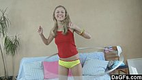 Sweet teen doin g Exercises before stiptease ore stiptease