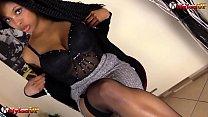 Elegant Ebony Babe In Stockings Masturbates Wit