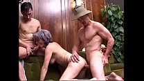 Old bitch Patrizia gets cunt and ass banged in DP and face creamed after BJ
