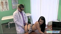 Brunette babe gets her doctor fucked in fake hospital preview image