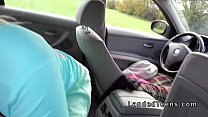 Hot blonde with huge tits banged in car