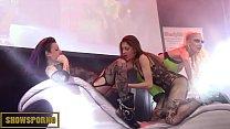 Lesbian pornstars threesome on stage