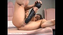Katina rips open her pussy with black brutal dildos