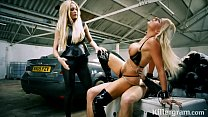 Slave sub slut Lissa Love is used by two hung studs and her mistress thumbnail