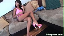 Casting tranny pulling her cock at audition