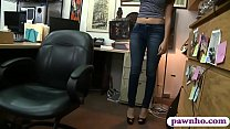 Pretty brunette babe railed by pawn man in his office