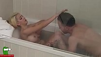 The blonde girl wants a good cock in the bath. ...