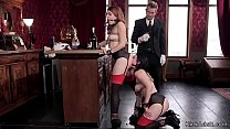 Butler punishes and fucks two hot slaves