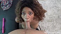 Gorgeous black amateur squeals while getting pounded by white dick